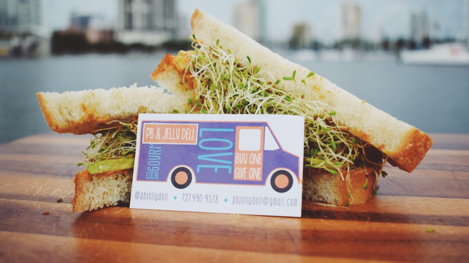 pb and jelly deli business card and st. pete savory sandwich